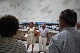La directora de AENA en Lanzarote y Marcial Morales durante la inauguración.